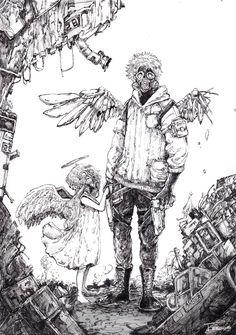 """雨宮 透@羽根展5/17〜 on Twitter: """"作られた天使と堕ちた天使。… """" Anime Drawings Sketches, Anime Sketch, Cool Drawings, Manga Art, Anime Art, Cyberpunk Art, Character Drawing, Ink Art, Aesthetic Art"""