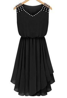 Shop Black Sleeveless Rhinestone Hollow Pleated Chiffon Dress online. Sheinside offers Black Sleeveless Rhinestone Hollow Pleated Chiffon Dress & more to fit your fashionable needs. Free Shipping Worldwide!
