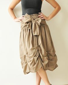 Baby Doll.... Brown Cotton Dress/Skirt. via Etsy.