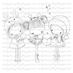 3 Little Christmas Girls by alldressedupstamps on Etsy