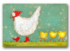 ORIGINAL chicken and chicks acrylic painting on canvas folk art chickens by TASCHA
