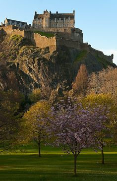 Edinburgh Castle, Scotland, UK - A most impressive sight from every angle - a treat to see it flanked by a blue sky!