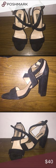 SUEDE CUTE STEVE MADDEN HEELS These heels are just beautiful!! They were worn MAYBE twice, and are in mint condition. They are strappy,sexy, and a girls BEST FRIEND‼️  Steve Madden Shoes Heels