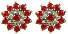 9ct Yellow Gold Ruby and Diamond Cluster Stud Earrings  http://electmejewellery.com/jewelry/earrings/9ct-yellow-gold-ruby-and-diamond-cluster-stud-earrings-couk/