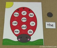 Ladybug Sight Word Cover-Up. Could do this with letters and numbers also.