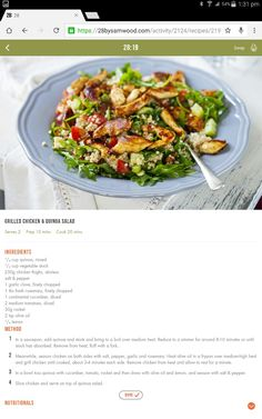 Healthy diet recipes · chicken & quinoa salad michelle bridges 28 by sam wood, clean eating plans Healthy Eating Recipes, Clean Eating Recipes, Veggie Recipes, Healthy Meals, Healthy Food, Yummy Recipes, Free Recipes, 28 By Sam Wood, Chicken Quinoa Salad