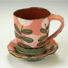 Espresso Cup and Saucer Set Salmon with Hovering by nancyandburt ~ Such happy colors and motif.who wouldn't want to drink their coffee from this? Pottery Mugs, Ceramic Pottery, Pottery Art, Ceramic Plates, Ceramic Art, Cerámica Ideas, Sculptures Céramiques, Paperclay, Espresso Cups