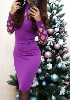 MalangFashion Purple Plain Hollow-out High Neck Midi Dress