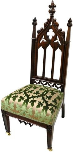 Gothic Revival Chair with characteristic pointed arch and oak leaf finial. Would love to find this fabric for my Gothic chairs. Gothic Chair, Victorian Chair, Victorian Furniture, Victorian Gothic, Gothic Architecture, Interior Architecture, Gothic Home Decor, Gothic House, Antique Chairs