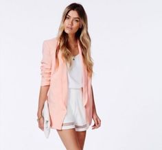 Coral Missguided Long Line Blazer size 10 in Clothes, Shoes & Accessories, Women's Clothing, Coats & Jackets | eBay