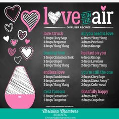 Love is in he air with these diffuser blends which are great for Valentine's Day or date night