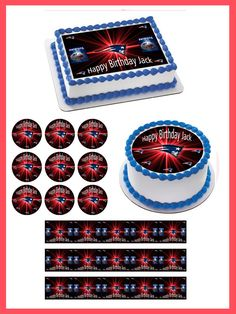 New England Patriots Edible Birthday Cake Topper OR Cupcake Topper, Decor