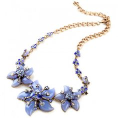2015 Fashion New Blue Lucite Flowers Necklace Choker Necklaces & Pendants Luxury Jewelry For Women