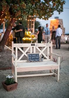 Have your guests sign a cute bench that you can become a beautiful centerpiece in your new home or garden! Image by Stewart Uy Photography