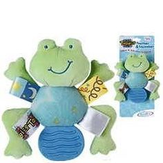 """Mary Meyer Baby Taggies Teether and Squeaker Frog. 5"""", bright with embroidered features and tags babies love.  Great for baby boy or girl."""