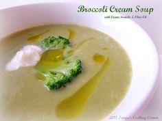 Tanjas Cooking Corner: Broccoli Cream Soup with Olive Oil & Cream Fraiche/ Brokkoli-Cremesuppe mit Olivenöl & Creme Fraiche/ Krem juha od brokolija s maslinovim uljem i Creme Fraiche