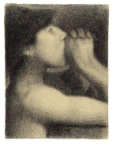 seurat:  georgers seurat | the echo |bathers at asnières |conté crayon |31.2 × 24cm |1883-1884 |new haven, yale university art gallery...