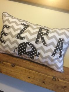 Personalised elephant cushion fab to sit on nursing chair in baby's nursery