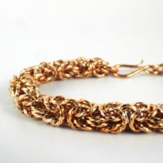 Solid Bronze Byzantine Chainmaille Bracelet Kit - Unique Square, On Edge and Twisted