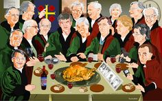 """A group portrait of my fraternity  ('jaarclub') TRINITY, made at the occasion of our 45th anniversary (2015). As a basis I took a group portrait of Cornelis Antonisz. """"Braspenningmaaltijd"""" (1531)."""