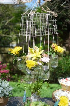 Mason Jar Chandelier ~ rustic and shabby ~ perfect for outdoor entertaining.