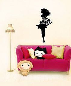 WALL VINYL STICKER DECAL ART MURAL SEXY FASHION SHOPPING GIRL LADY A1208