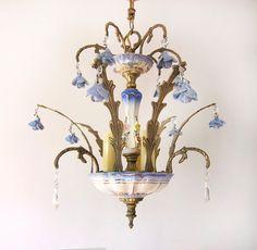 Antique Porcelain Flowers and Bronze Chandelier 3 lights / RESTORED / Paris apartment / Art Nouveau / Vintage Floral lamp / Porcelain roses