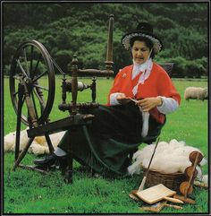 Welsh lady spinning wool