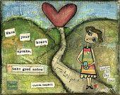 Mixed Media Art: Receptive Girl 8x10 print - Whimsical Art, Folk Art, Inspirational Art, Wall Art, Girl Art - blue, green, red