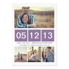 Purple Squared Photo  Save The Date Invites