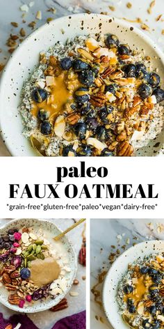 If you're craving a delicious, cozy bowl of oatmeal, this paleo version is the perfect breakfast. This paleo oatmeal is easy and simple, and contains no rolled oats or grains. It contains only 4 ingredients and is perfect for those chilly mornings. Homemade Breakfast, Paleo Breakfast, Breakfast Recipes, Free Breakfast, Kitchen Recipes, Paleo Recipes, Real Food Recipes, Easy Recipes, Quiche Recipes