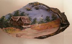 Hand painted Oyster Shell featuring an  old house by JosLagniappe, $12.50