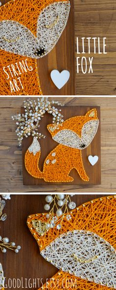 Woodland / forest inspired nursery fox string art wall decor in orange. Perfect for nursery or kids room.