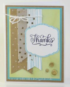 Gold foil accent Thank you card with close to my heart, cricut, Whimsy, Rustic Home #ctmh #fundamentals & #allthethanks stamp set.  Createwithemily