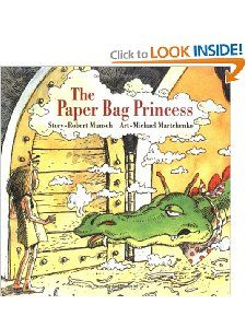 """The Paper Bag Princess (Classic Munsch) [Paperback]  Robert Munsch (Author), Michael Martchenko (Illustrator)   List Price:	$6.95  Price: $6.26."" Another favorite from my childhood where the princess saves herself and decided she doesn't need a prince. :)"