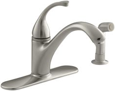 """Forté 4-Hole Kitchen Sink Faucet with 9-1/16"""" Spout, Matching Finish Sidespray"""