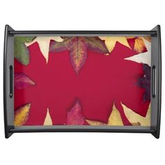 Autumn Leaves in red background Large Serving Tray