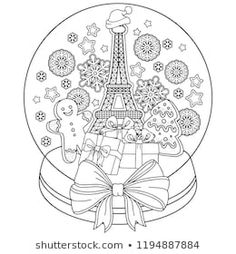 Vector coloring book for adult. Christmas snow globe with Eiffel tower, gingerbread man, snowflakes. Love Coloring Pages, Free Adult Coloring Pages, Coloring Books, Christmas Snow Globes, Christmas Colors, Colouring Heaven, Christmas Coloring Sheets, Christmas Doodles, Cute Cartoon Drawings