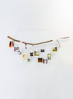 CUSTOMIZABLE Tree Branch Photograph Hanger with white Ombre Clothespins Hand Painted and wrapped using choice of Twine, string and colors(Diy Photo Display) Diy Photo, Photo On Wood, Photo Wall, Custom Photo Calendar, Photo Garland, Exposition Photo, Photo Magnets, Home And Deco, Wooden Diy