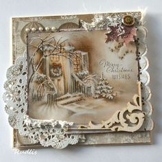 Shabby Lacy Christmas Card...with paper doilies & pearls.
