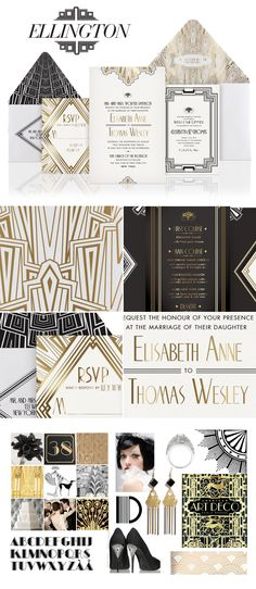 Art Deco inspirted Ellington wedding invitation suite design by Atelier Isabey