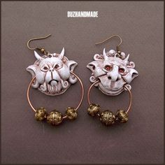 Knocker Earrings Labyrinth White version | Polymer CLAY | BUZHANDMADE