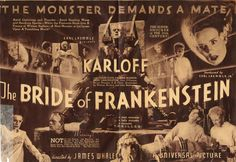 'The monster demands a mate!' Bride of Frankensteinis a 1935 Americanhorror film, and the first sequel toFrankenstein(1931).It was directed byJames Whaleand starsBoris Karloffa…
