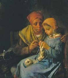 Jean-François Millet (French painter, 1814–1875)  Knitting Lesson - Doublepoints - Embrace - Shawl - Dress