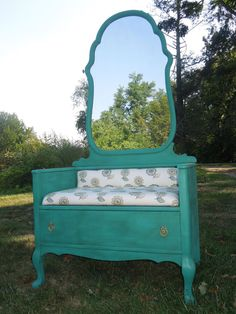 Mirror Hall Tree Bench with Drawer from a Dresser.
