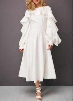 a7af2702a95 Round Neck Ruffle Trim Lantern Sleeve Dress Long Fall Dresses