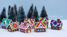 Miniature Gingerbread Houses, Polymer Clay Sculptures by Stephanie Kilgast, PetitPlat