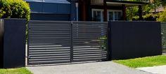 Double Entry Gates - Aluminium Slat Double Gate & Fence - Landscape Design North Brisbane