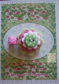 Adorable Pink and Green Layered Flower Felt by LittleDollysShop, $3.50