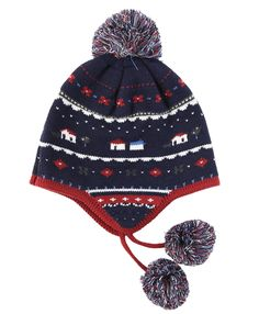 65b83f57777 Connectyle Toddler Boys Cotton Knit Kids Hat Pom Beanie Hat With Earflap  Warm Winter Hats Beanies